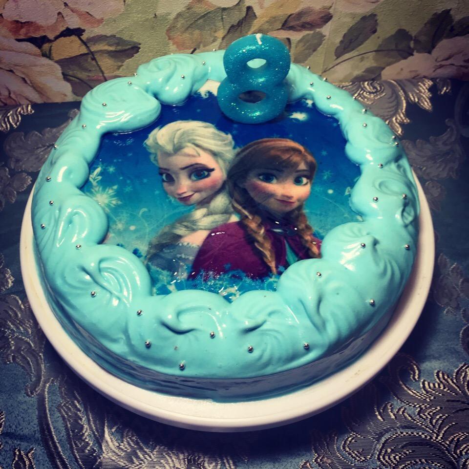 Торт с вафельной картинкой холодное сердце фото